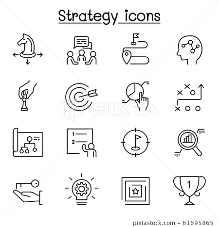 Strategy & planing icon set in thin line style 61695865