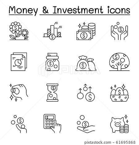 Money & Investment icons set in thin line style 61695868