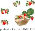 五颜六色的草莓在容器中设置了草莓和草莓花朵和叶子的草莓插图 61696113