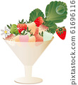 插图彩色草莓草莓和草莓花朵和叶子在玻璃上 61696116