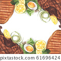 Grilled beef steaks and salad with boiled eggs. Watercolor illustration. 61696424