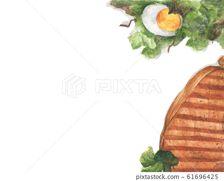 Grilled beef steaks and salad with boiled eggs. Watercolor illustration. 61696425