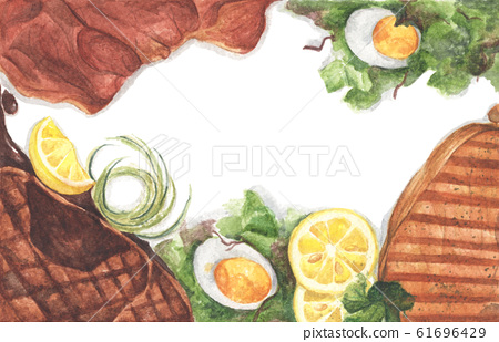 Grilled beef steaks and salad with boiled eggs. Watercolor illustration. 61696429