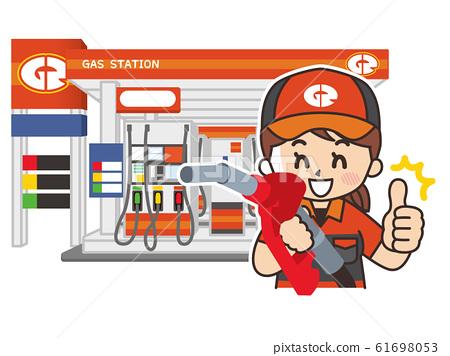 加油站的女職員和商店 61698053