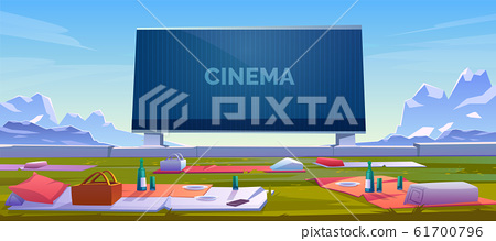 Outdoor cinema, open air movie theater with seats 61700796