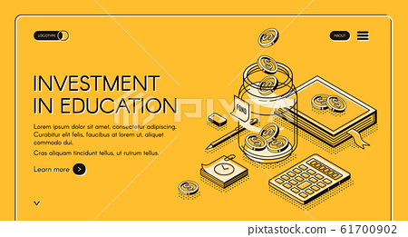 Investment in education isometric landing page 61700902