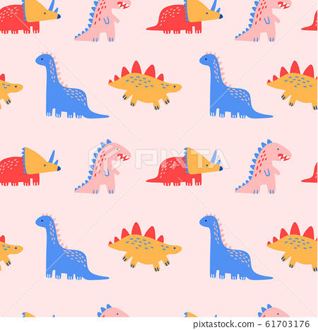 Cute Dinosaur Seamless Pattern with Pink Background, Vector Illustration for prints and posters, invitation and greeting cards. 61703176