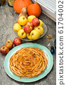 beautiful apple pie with red and yellow apples 61704002
