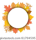 Autumn red and yellow leaves round frame vector illustration. Falling leaf circle. Autumnal season rounded set. 61704595