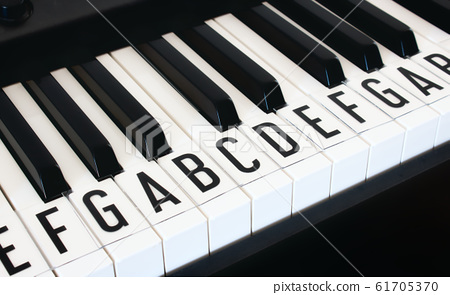 Piano keyboard keys with letters of notes of the 61705370
