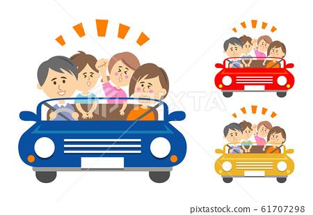 驅動器的例證圖像在一輛敞篷車的與家庭 61707298