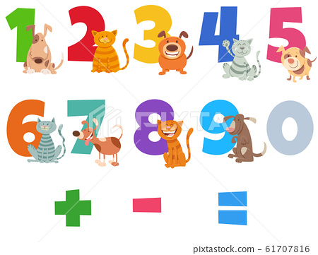 numbers set with happy cats and dogs 61707816