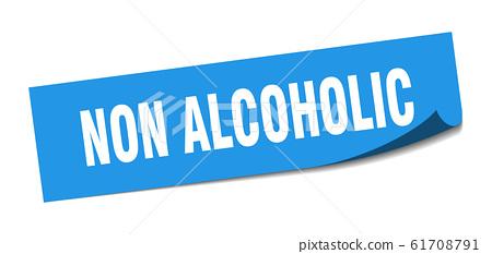 non alcoholic sticker. non alcoholic square sign. 61708791
