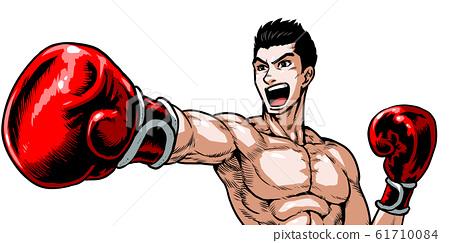 指向,拳頭,男性,青年,拳擊,手套,上身,喊,年輕,漫畫,卡通 61710084