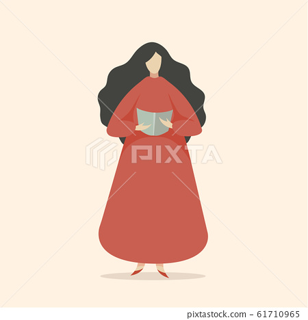 Woman Reading Book or Singing 61710965