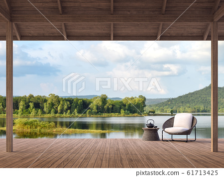 Wood terrace with beautiful lake and mountain view 3d render 61713425