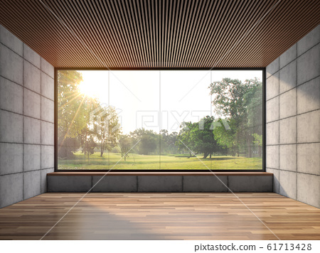 Modern contemporary loft empty room with nature view 3d render 61713428