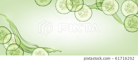 Beautiful, horizontal, green, realistic cucumber background with splashes of liquid for advertising banners and cosmetics advertisements. 61716202