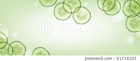 Beautiful, horizontal, green, realistic cucumber background with drops of liquid for advertising banners and cosmetics advertisements. 61716203