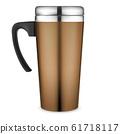 Thermo mug mockup. Travel coffee cup. Metal flask 61718117
