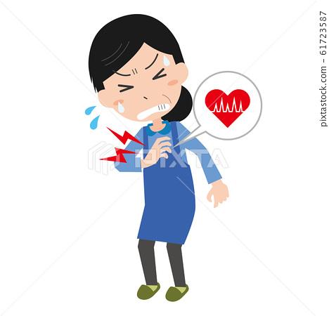 Woman chest pain heart electrocardiogram heart rate heart disease 61723587