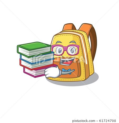 Cool and clever Student kids school backpack mascot cartoon with book 61724708