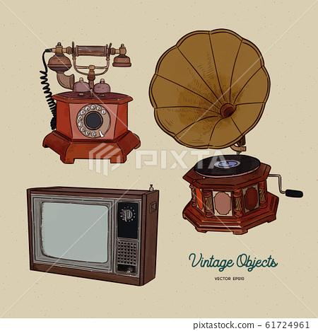 Vintage object set, hand draw sketch vector. 61724961