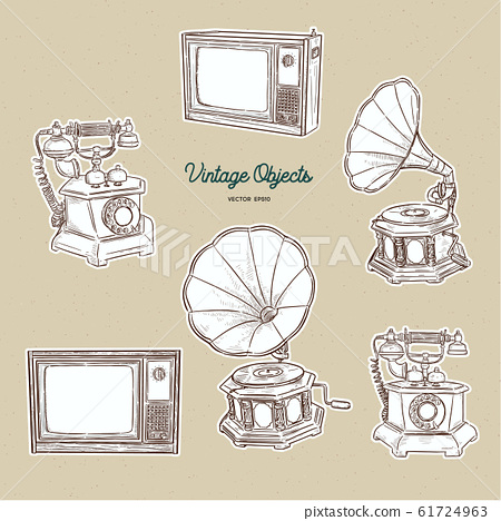 Vintage object set, hand draw sketch vector. 61724963