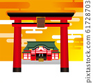 Illustration of the torii and the shrine of the main shrine | Cloud and sunset sky background | Vector data 61728703