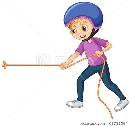 Boy pulling rope on white background 61731594
