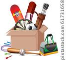 Cardboard box full of sport equipments on white 61731658
