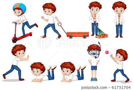 Boy in bluejeans doing different activities 61731704