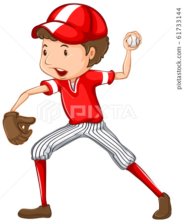 Athlete doing baseball on white background 61733144