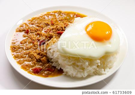 가빠오라이스 (계란 후라이 포함). (白皿 흰색 배경) 61733609