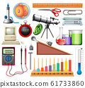 Large set of science equipments on white 61733860