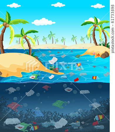 Water pollution with plastic bags in ocean 61733898