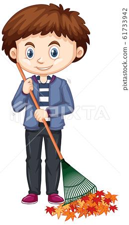 Little boy raking leaves on white background 61733942