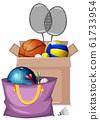 Cardboard box full of sport equipments on white 61733954