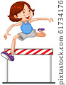 Athlete doing jumping on white background 61734176
