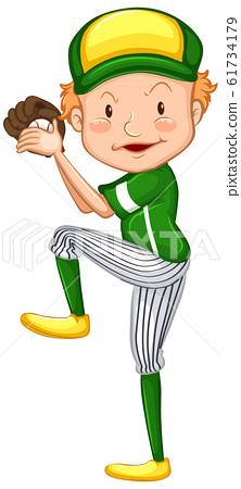 Athlete doing baseball throw on white background 61734179