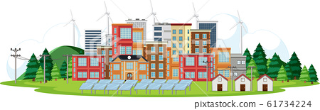 Scene with buildings with turbines and solar cell 61734224
