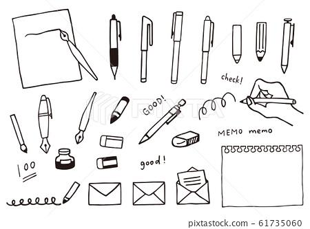 一套文具(書寫工具)的手繪風格插圖 61735060