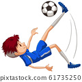 Athlete playing soccer on white background 61735250
