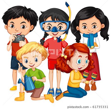 Five children in different costumes 61735331