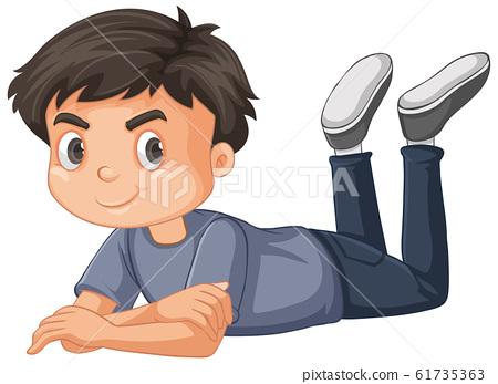Boy in gray shirt laying down on white background 61735363