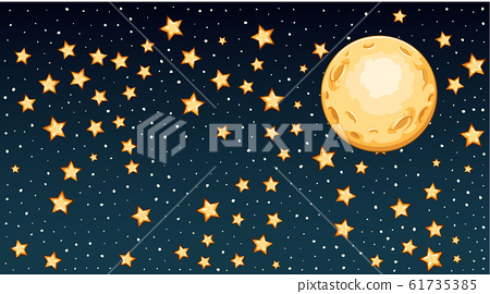 Background template with bright stars in dark sky 61735385