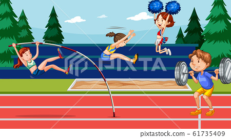 Background scene with athletes doing track and 61735409