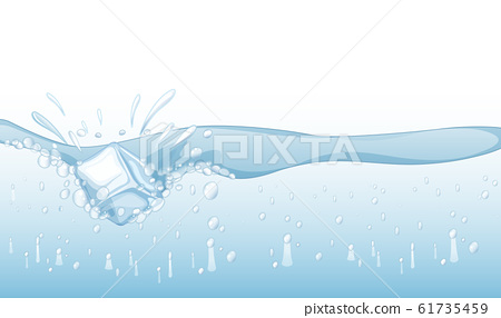 Background with ice cube splashing in water 61735459