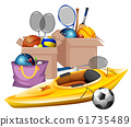 Boxes of sport equipments on white background 61735489