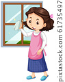 Girl cleaning window on white background 61735497
